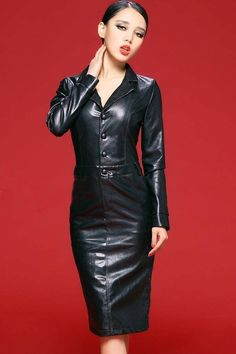 Fetish Fashion, Latex Fashion, Black Leather Dresses, Leather Skirt, Leather Outfits, Pretty Dresses, Sexy Dresses, Dress Skirt, Shirt Dress