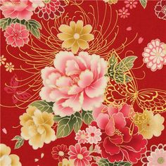 red butterfly and flower fabric with gold by Kokka
