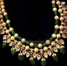 Jewellery Designs: Pearls Kundan Beads Sets