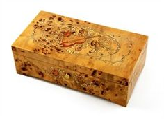 Handcrafted 50 Note Pioppo Music Box with Violin and Floral Inlay $1,399.99 + more fine music boxes.