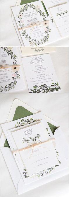rustic chic green wreath spring wedding invitations/ printable wedding invitations/ green olive leaf wedding invitations