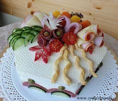 Creative Kitchen, Creative Food, Finger Food Appetizers, Finger Foods, Sandwich Torte, Food Artists, Salty Foods, Food Garnishes, Salty Cake