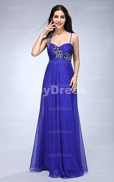 Sequin Appliques A-line Shoulder Straps Floor-length Dress #promdress