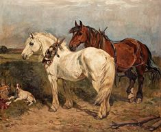 John Emms - Two work horses and a village dog