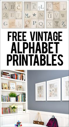 Furniture Layouts With The Lake House Vintage Alphabet Printables - Beautiful And Fun Printables For Free Craft Free, Dollar Store Crafts, Free Prints, Printable Wall Art, Printable Alphabet, Clipart, Classroom Decor, Getting Organized, Home Art