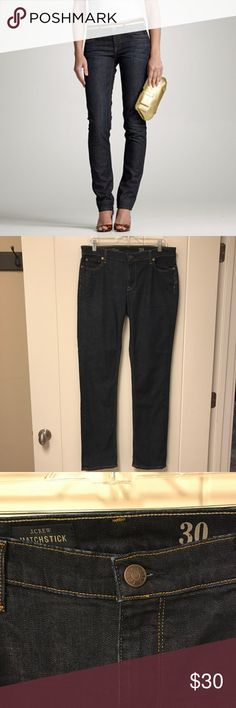 "J. Crew Matchstick Jeans Dark Wash 30 Dark wash jeans in ""matchstick"" style, a slim straight-leg cut.  Inseam measures 31.5 inches.   Excellent pre-owned condition. J. Crew Jeans Straight Leg"