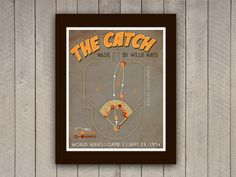 "Willie Mays Baseball Print ""The Catch"" Infographic Baseball Poster in Grey, Brown, Orange, Yellow 1954 World Series, Boys Bedroom Furniture, Baseball Posters, Willie Mays, Runners World, Orange Yellow, Retro Vintage, Infographic, Grey"