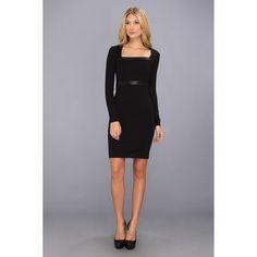 Nicole Miller Lane Ponte Dress (Black) Women's Dress ($231) ❤ liked on Polyvore featuring dresses, black, square neckline dress, ponte dresses, stretch dress, long sleeve ponte dress and straight dress