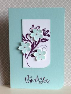 Petite Petals stamp set and matching punch used here in colours of Coastal Cabana with Blackberry Bliss for the Flowering Flourish and sentiment - created by Julia Jordan www.papercraftelegance.blogspot.co.uk