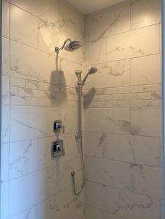 "Shaw Maximus ""Calacatta"" porcelain tile for shower"