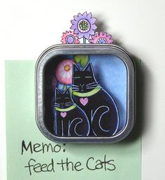 Black Cat and Kitten Shadow Box Magnet by SusanFayePetProjects, $9.00