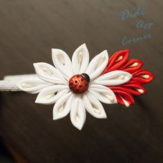 Red Lady Bug on a White and Red Kanzashi Flower by DidiArtCorner, $14.99 with FREE SHIPPING!