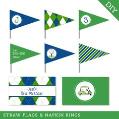 Navy Golf Party - Personalized DIY printable straw flags and napkin rings by Chickabug on Etsy https://www.etsy.com/listing/178599308/navy-golf-party-personalized-diy