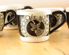 Black and White Animal Mug Antlers No. 4 by JessiVanGundy on Etsy