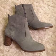 "J. Crew 'Aggie' Booties These booties are a pretty grey suede color. They have side zippers as well. Heel is 2"". They're in basically brand new condition. Initials on the bottom but aren't noticeable when wearing of course. Size 8 J. Crew Shoes Ankle Boots & Booties"