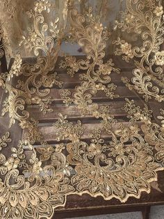 Emma GOLD Embroidered Flower with Sequins Scalloped Edge on a Mesh Lace Fabric by the Yard, Half Yar – 2019 - Lace Diy Antique Lace, Vintage Lace, Embroidered Flowers, Floral Embroidery, Embroidery Fabric, Gold Lace Fabric, Scalloped Lace, Vintage World Maps, Sequins