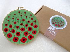 Poppies Embroidery Kit Remebrance Day Gift Poppy Gifts Wildflower Hoop Art Kit Floral Needle Craft Kit Flower Needlework Craft Set Gift by OhSewBootiful #embroidery #needlework #embroiderypattern #hoopart #diyembroidery #diyhoopart #embroiderykit #needlework #diygift #giftforcrafter