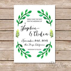 Printable Save The Date / botanical theme / Modern by paperhive