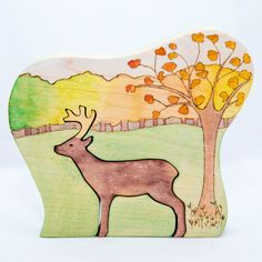 Wooden deer in an autumn forest, 3 parts.  Lovely for the seasonal table and play    Handmade with love from 2cm thick solid maple wood, painted