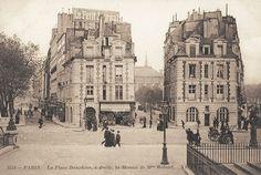 L'entrée de la place Dauphine (qui s'appelle aujourd'hui la rue Henri-Robert), vue depuis le Pont-Neuf, vers 1900. A gauche le quai de l'Horloge, à droite le quai des Orfèvres...