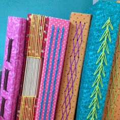 Atelier Patricia Veras: CURSOS - all different types of long stitch bookbinding on colorful covers