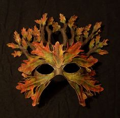 Lovely idea for miniaturising.in Fimo or maybe even natural materials. Lovely idea for miniaturising.in Fimo or maybe even natural materials. Wiccan, Pagan, Leather Mask, Venetian Masks, Masks Art, Fantasy Costumes, Green Man, Mask Design, Mask Making