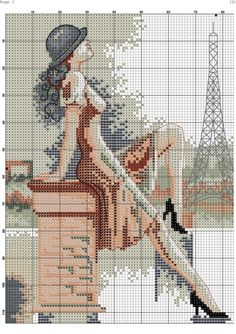 Borduurpatroon Kruissteek Vrouw *Cross Stitch Pattern Woman---- ~B: Lady met Hoed 2/6~