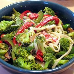 """Linguine with Broccoli and Red Peppers 