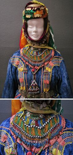 Close-up of a traditional bridal costume from Türkmen villages in the Dinar district (Afyon province), e.g. in the valley of Çölovası. Clothing style of the 1950s. The copper, nickle and silver coins adorning the headgear, and the beadwork necklaces are late-Ottoman (19th – early 20th century). (Kavak Costume Collection-Antwerpen/Belgium).