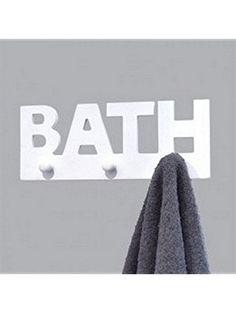 Evideco Wall Mounted 3 Hooks Coat Rack Bath Writing Wood White