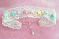 DIY Hime Gyaru Lace/Ribbon Chokers DIY Lace Choker DIY Crafts- Tap the link now to see our super collection of accessories made just for you! Diy Choker, Ribbon Choker, Lace Ribbon, Pastel Fashion, Kawaii Fashion, Lolita Fashion, Cute Fashion, Kawaii Accessories, Diy Accessories
