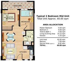 Cedar Crest - 2-Bedroom Middle Unit Floor Plan #realEstate #condo #condoForSale #manilacondo www.mymanilacondo.com/