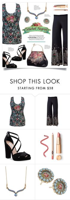 """""""Michal Negrin Canada"""" by mahafromkailash ❤ liked on Polyvore featuring Nina, vintage, floral, embroidered and widepants"""