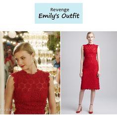 "Emily's (Emily Van Camp) Red Rose Lace Sheath Dress   Revenge - ""Resurgence"" (Ep. 307)"