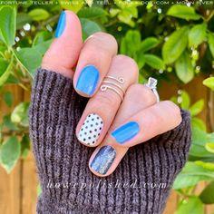 Polka Dot Nails, Blue Polka Dots, Nail Color Combos, Nail Colors, Nail Polish Strips, Color Street Nails, Nail Inspo, Nails Inspiration, Beauty Nails