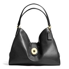Coach Carlyle Smooth Leather Shoulder Bag 37637 Black