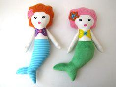 2 Plush Mermaid Dolls Set -- Toy Stuffed Cute Gift. $30.00, via Etsy.
