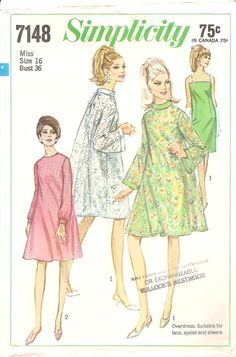 Vintage 1967 Simplicity Pattern 7148 Juniors and Misses Slip Dress and Dress Size 16. $10.00, via Etsy.