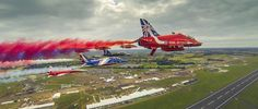 The Red Arrows 50th Anniversary Flypast with The Patrouille Suisse Leader