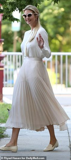 First Daughter Ivanka Trump steps out in all white semi-sheer ensemble Ivanka Trump Outfits, Ivanka Trump Photos, Ivanka Trump Style, Ivanka Marie Trump, Trump Daughter, First Daughter, All White Outfit, White Outfits, Edgy Outfits