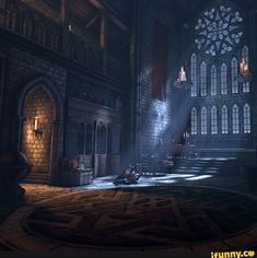 This image is an example of Gothic Style with the large stain glass window. This space also shows verticality, which is another characteristic of the gothic style. Gothic Castle, Fantasy Castle, Gothic House, Medieval Fantasy, Dark Fantasy, Fantasy Art, Gothic Mansion, Dark Castle, Victorian Gothic