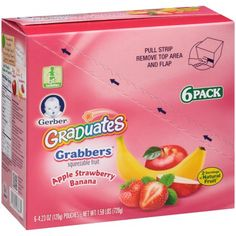 Gerber Grabbers Fruit Squeezable Puree, Apple Strawberry Banana, 4.23 oz Pouch (Pack of 6)
