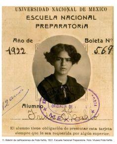 Tarjeta escolar de Frida Kahlo