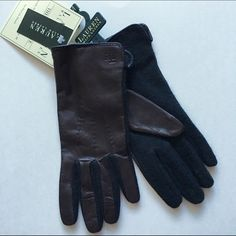 "NWT RALPH LAUREN Gloves Contrast Touch Screen Gloves by LAUREN Ralph Lauren - Dark brown/Black. Sleek and warm, a lovely go-to gloves on brisk days. Upper: 100% leather, palm: 80% wool 20% nylon. Vented cuffs, signature ""LRL"" monogram. Touch screen compatible fingertips. Retails: $48. Size: L. Ralph Lauren Accessories Gloves & Mittens"