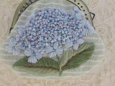 ☆・・綺麗な紫陽花のお花、刺繍ガマ口!!画像1