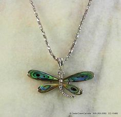 Dragonfly Pendant w/ Abalone Shell Wings       by CedarCreekCanada, $14.95