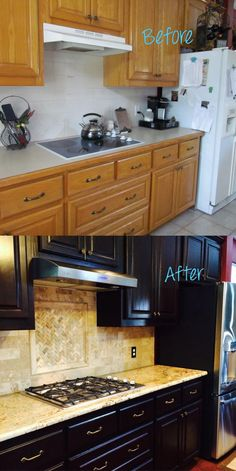 Just finishing up this kitchen remodel and look at this before and after! Wow what a difference!