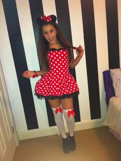 Minnie mouse costume. WAYYYYY too slutty for this young of a girl!