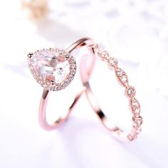 This is a 2pcs wedding ring set. This is 6x8mm pear shaped cut morganite engagement ring rose gold plated. The stones are VVS man made cz diamond. The matching band is a full eternity art deco one. The stones can be replace with other gemstones.For example,if you dont like the CZ