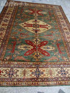 BEAUTIFUL GREEN VEGETABLE DYE COLORS KAZAK RUG from Yamood Turkmen Carpets by DaWanda.com